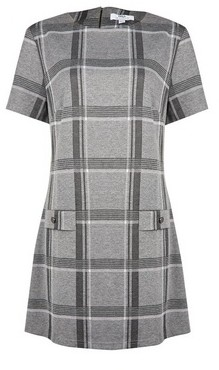 Dorothy Perkins Womens Tall Grey And White Check Print Tunic, Grey