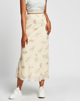 Reverse Floral Midi Skirt