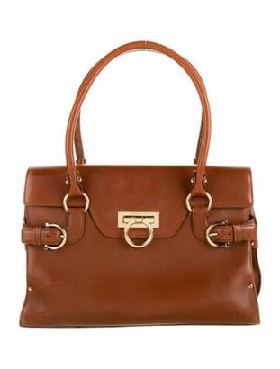 Salvatore Ferragamo Leather Handle Flap Bag Brown