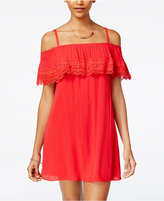 Amy Byer Juniors' Lace Ruffled Off-The-Shoulder Dress
