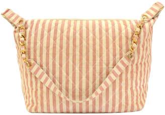 Chanel Bi Color Striped Canvas Shoulder Bag