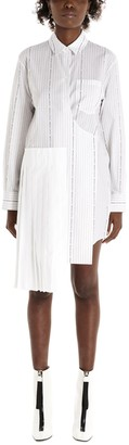 Off-White Pleated Striped Shirt Dress