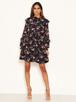 AX Paris Chiffon Floral Day Dress - Navy