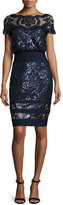 Tadashi Shoji Short-Sleeve Sequined Lace Blouse Dress