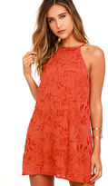 Lucy-Love Lucy Love Sophia Rust Red Embroidered Dress