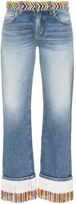 Alanui Fringed Beaded Boyfriend Jeans