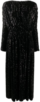 Saint Laurent Ruched Sequin Maxi Dress