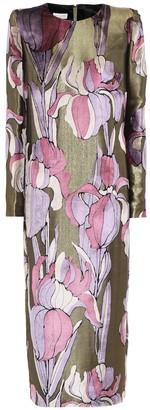 Dries Van Noten Floral metallic midi dress