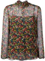 RED Valentino floral ruffle neck blouse