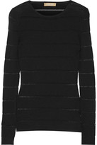 Michael Kors Sheer-striped Ribbed Merino Wool-blend Sweater - Black