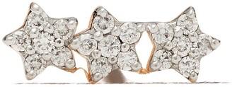 Kismet By Milka 14kt Rose Gold Three Diamond Stars Piercing Stud Earring