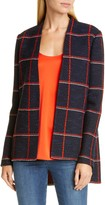 St. John Maritime Plaid Knit High/Low Jacket