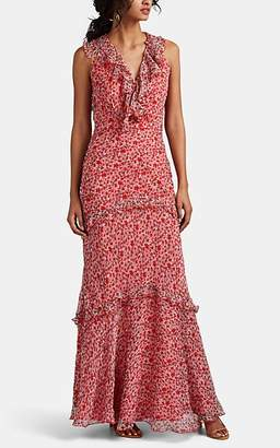 Saloni Women's Rita Floral Silk Maxi Dress - Red