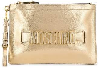 Moschino metallic sheen logo clutch