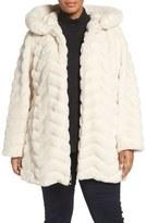 Gallery Plus Size Women's Hooded Chevron Faux Fur Coat