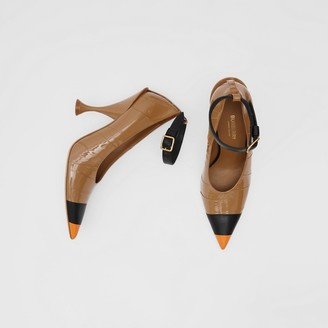 Burberry Tape Detail Leather Point-toe Pumps