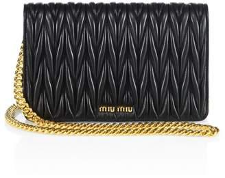 Miu Miu Matelasse Metallic Leather Chain Wallet