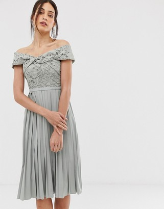 Little Mistress cross front lace top midi pleated skater dress in waterlily-Grey
