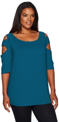Love Scarlett Women's Plus Size Triple Arm Band Hankerchieve Hem Knit Top