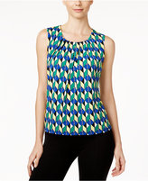 Kasper Printed Pleat-Neck Shell
