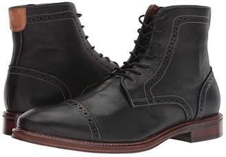 Johnston & Murphy Warner Cap Toe Zip Boot (Black Full Grain) Men's Dress Lace-up Boots