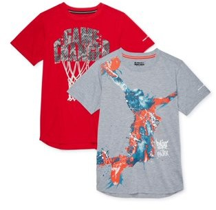 AND 1 AND1 Boys Game Changer Short Sleeve Basketball Graphic T-Shirts, 2-Pack, Sizes 4-18