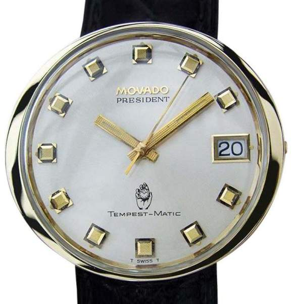 Movado President Tempest Matic 14K Gold & Stainless Steel Automatic 38mm Mens Watch Year 1960