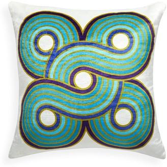 Jonathan Adler Turquoise/Navy Milano Woven Circles Pillow