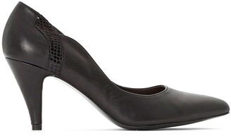 Anne Weyburn Leather Heels with Cut Wave Detail