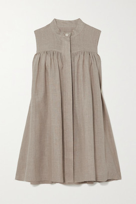 &Daughter Pleated Linen Dress - Gray