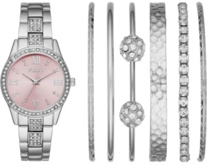 Folio Women's Silver-Tone Bracelet Watch 32mm Gift Set