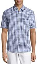 James Campbell Men's Checked Cotton Shirt - Blue, Size x-large