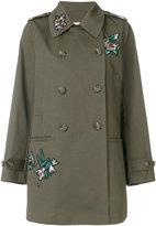 RED Valentino flower patch coat - women - Silk/Cotton - 38