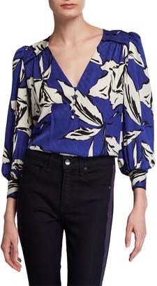 Veronica Beard Milan Printed Silk Button-Front Top
