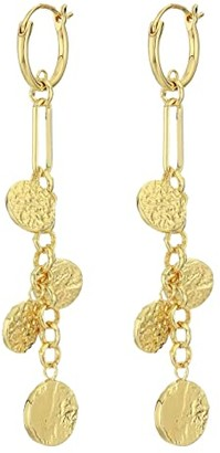 Gorjana Banks Coin Drop Huggies Earrings (Gold) Earring