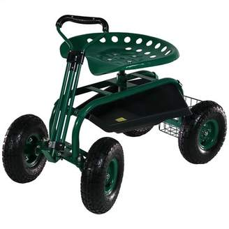 Sunnydaze Decor Rolling Garden Cart with Extendable Steering Handle, Swivel Seat and Basket - Green