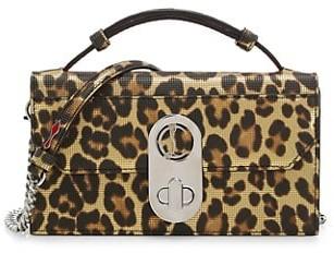 Christian Louboutin Elisa Leopard-Print Leather Baguette