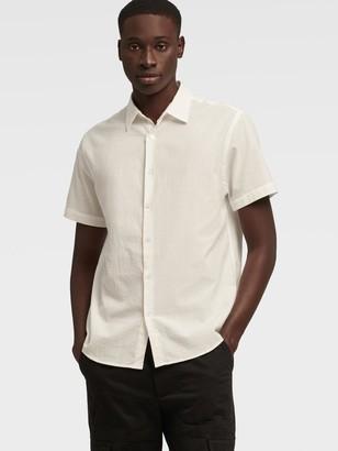 DKNY Men's Short Sleeve Seersucker Shirt - Bright White - Size XS