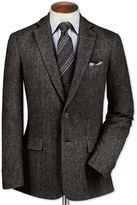 Charles Tyrwhitt Slim Fit Charcoal Lambswool Hopsack Wool Jacket Size 38