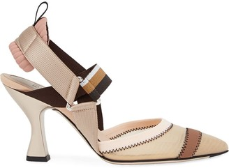Fendi multicoloured sling back court shoes