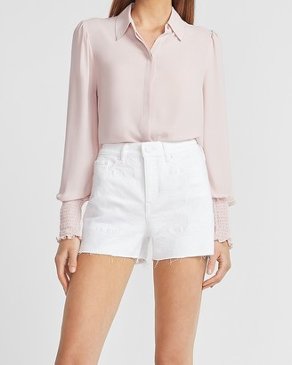 Express Super High Waisted White Embroidered Jean Shorts