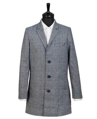 Farah Ruxton Check Overcoat Colour: NAVY, Size: MEDIUM