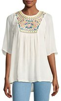 Tolani Heather Embroidered & Sequined Tunic, White
