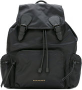 Burberry logo plaque backpack - men - Cotton/Calf Leather/Acrylic/Polyamide - One Size