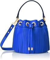 Milly Essex Fringe Mini Drawstring Bucket Handbag Cross Body Bag, Blue