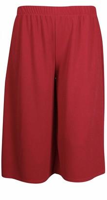 Umbrella Clothing Womens Plus Size Cropped Plain Elasticated Waist Stretch Ladies Mini Culottes Shorts (28-30