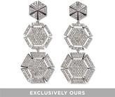 Vince Camuto Silvertone Pave Triple-hexagon Earrings