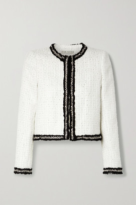 Alice + Olivia Kidman Embellished Metallic Tweed Jacket - White