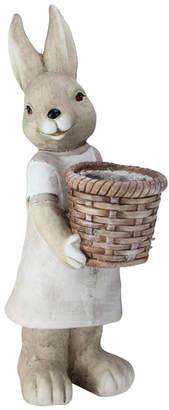 Northlight Neutral Tones Easter Girl Rabbit Outdoor Garden Planter