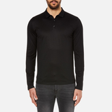 Hugo Delato Long Sleeve Mercerised Polo Shirt Black